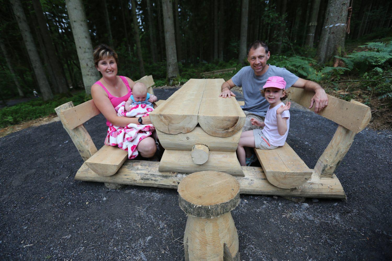 Photographie d'aire de pique nique réalisé par Yauque Company dans le parc de loisirs à thème Elfy park
